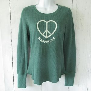 Life Is Good Thermal Top Happiness Peace Heart